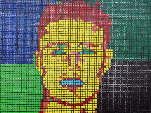 Coleccion, Pixelado FER, acrilico sobre tablilla, 70×50.